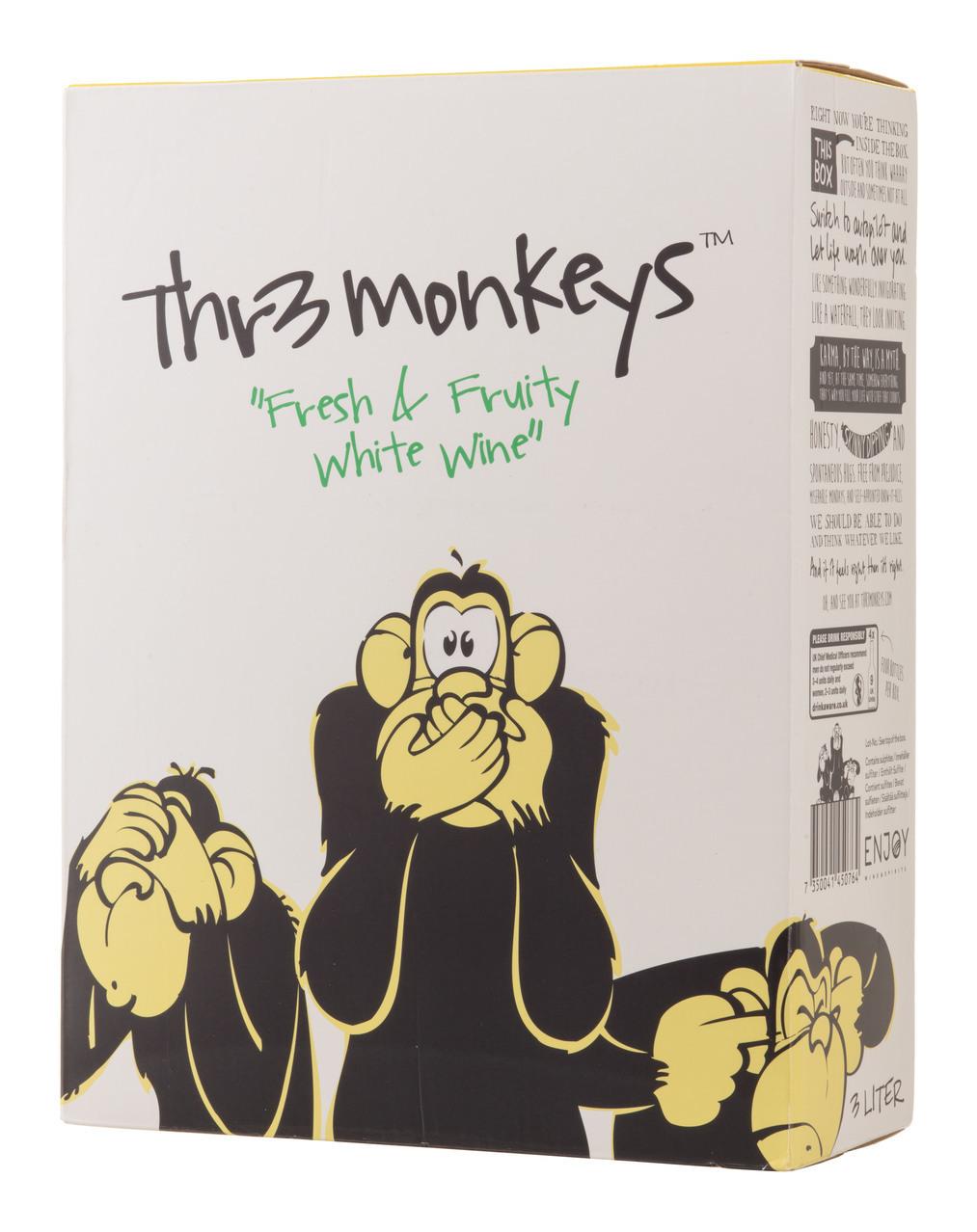 Thr3 Monkeys Fresh & Fruity White Wine